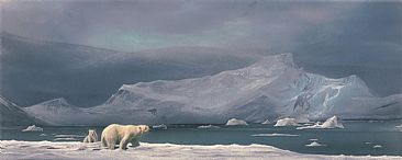 Arctic Edge - Polar Bear & Cub at Elesmere Island - Original Acrylic Painting has been sold. by Michael Pape